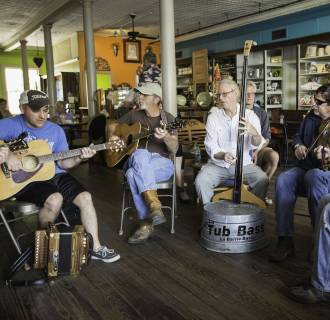 Image: Musicians meet for a Cajun jam session at Boutin's restaurant in Baton Rouge, Louisiana.