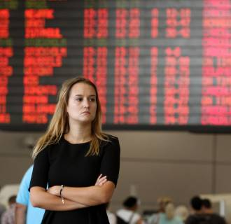 Image: Traveler at Ben Gurion International airport, near Tel Aviv