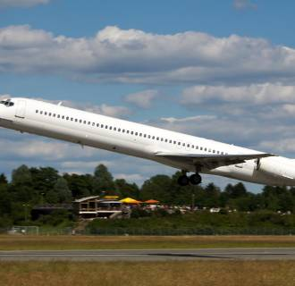 Image: The Swiftair MD-83 airplane, which crashed on July 24, is seen taking off from Hamburg airport