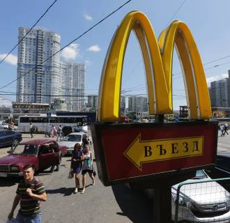 Image: A logo of McDonald's Corp's is on display outside a restaurant on the outskirts of Moscow