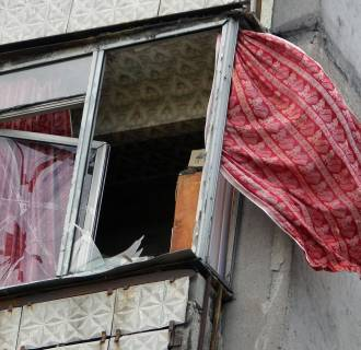 Image: Damage to house on outskirts of Donetsk