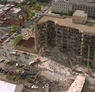 Image: The north side of the Alfred Murrah Federal Building in Oklahoma City is missing after what federal authorities believe to be a car bomb exploded on April 19, 1995