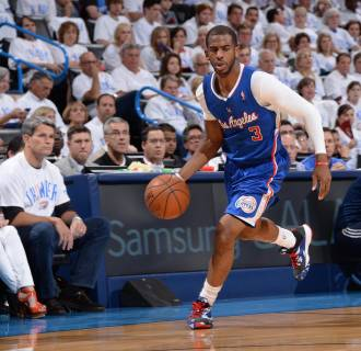 Image: Chris Paul #3 of the Los Angeles Clippers dribbles up the court against the Oklahoma City Thunder