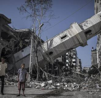 Image: Collapsed minaret of a mosque in Gaza City on Wednesday