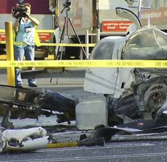 Image: One person died when a plane crash landed in a parking lot in Kearny Mesa.