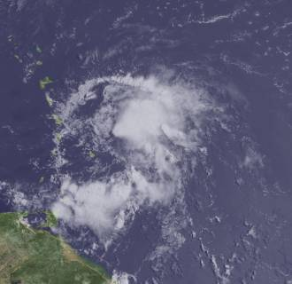 Image: A view of tropical storm Bertha moving toward the northeastern Caribbean Sea on Aug. 1.