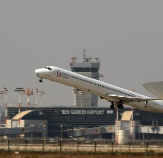 Image: A plane takes off from Ben Gurion Airport, in Lod, Israel, outside Tel Aviv, July 22, 2014.