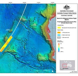 Image: Search area map of missing Malaysia Airlines flight MH370