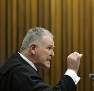 Image: Defense lawyer Barry Roux is seen during closing arguments in the murder trial of paralympian Oscar Pistorius