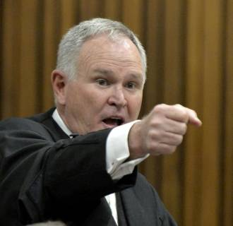 Image: Barry Roux gives his closing arguments in the murder trial of Oscar Pistorius