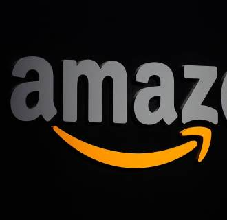 Image: The Amazon logo on a podium during a press conference in New York on Sept. 28, 2011.