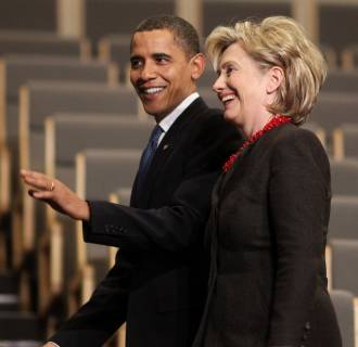 Image: President Barack Obama (L) and then-Secretary of State Hillary Rodham Clinton