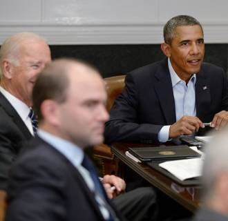 Image: US President Barack Obama meets members of the National Security Council
