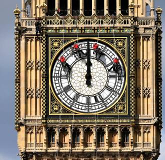 Image:  Great Clock atop the landmark Elizabeth Tower