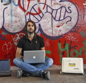 Cybersecurity researcher Ruben Santamarta poses for a photo near Madrid