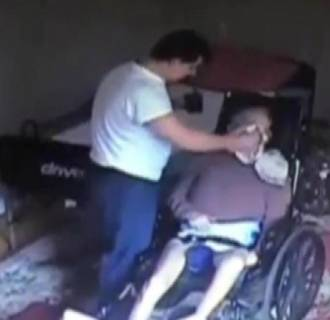 Image: Disturbing video captured by home surveillance cameras shows a home health care aide abusing a 78-year-old Queens stroke victim, slapping his trembling arm and jerking his head by his nose while trying to force-feed him.