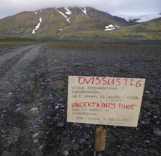 Image: Warning sign blocks road to Bardarbunga volcano in iceland