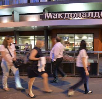 A closed McDonald's restaurant in Moscow, one of four temporarily shut by authorities for sanitary reasons.