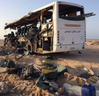 Image: Thirty-eight reported killed in Egypt tour bus crash
