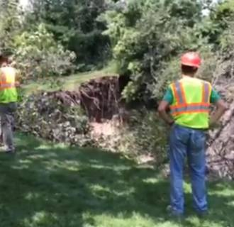 Image: Storms caused a massive sinkhole in Indiana