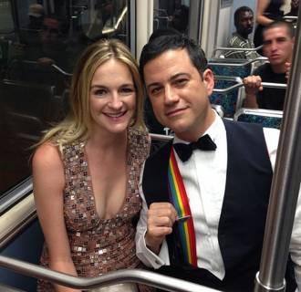 Image: Talk-show host Jimmy Kimmel wears rainbow suspenders