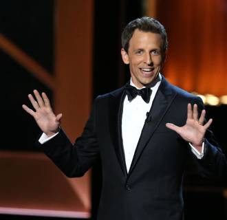 Image: Host Seth Meyers speaks on stage during the 66th Annual Primetime Emmy Awards