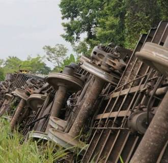 IMAGE: A cargo train called 'The Beast' derailed in August 2013 in Huimanguillo, in the state of Tabasco, Mexico.
