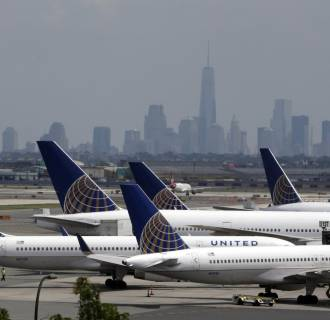 Image: United Airlines planes at Newark Liberty International Airport on July 22