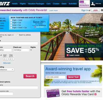 Image: Orbitz.com screenshot