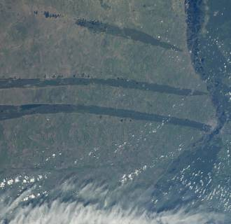 Image: Spiky shapes slash across the Kulundra Steppe of Siberia in a photo taken from the International Space Station