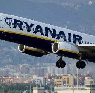 Image: A Ryanair jet takes off from Barcelona's airport.