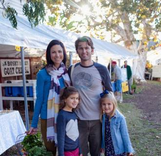 Image: The Leake family at a farmers market.