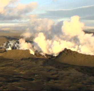 Aerial views of Iceland's rumbling volcano Bardarbunga.