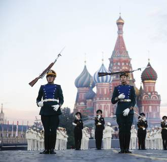 Image: Participants perform during the International Military Music Festival
