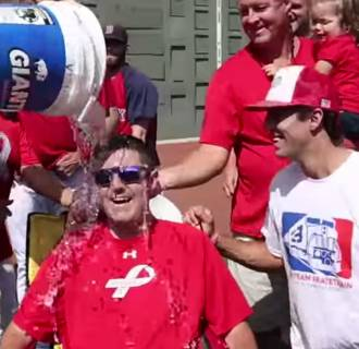 Peter Frates takes part in the Ice Bucket Challenge.