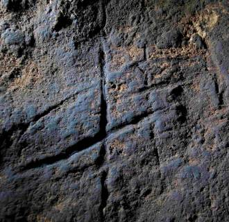 Image: Engravings believed to have been made by Neanderthals more than 39,000 years ago is pictured in Gorham's Cave