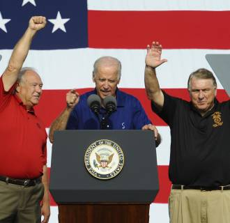 Image: UAW President Dennis Williams, United States Vice President Joe Biden and Teamsters President James Hoffa