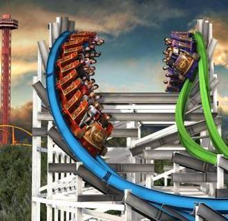 Image: An artist rendering of the planned Twisted Colossus ride at Six Flags Magic Mountain in Valencia, California.