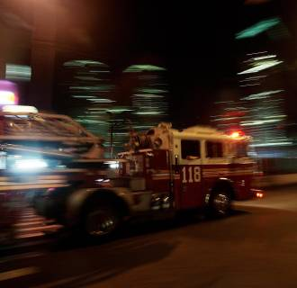 Image: A fire truck moves out