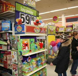 Image: Shoppers look for bargains at a Kmart store in the Bronx