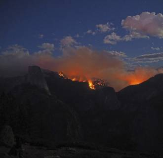 Image: The Meadow Fire burns near Half Dome in Yosemite National Park