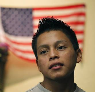 Image: Hugo Manuel is seen in the makeshift classroom in the Guatemala Maya Center in Lake Worth