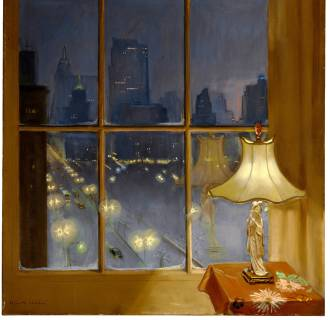 A painting by Huguette Clark of her view down Fifth Avenue toward the Empire State Building and the GE Building, with a Japanese lamp in the foreground.