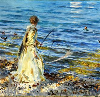 A Sargent painting of a woman fishing, from the collection of Huguette Clark.