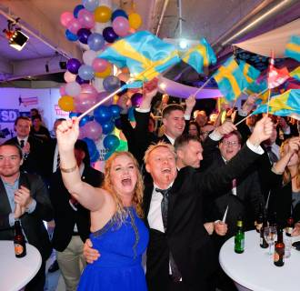 Image: Sweden Democrats celebrate during Sweden's election night