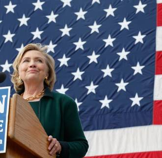 Image: Former U.S. Secretary of State Hillary Clinton gives a speech at the 37th Harkin Steak Fry in Indianola