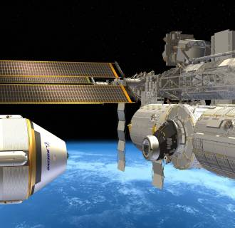 Image: An artist's rendition of the Crew Space Transportation (CST)-100 next to the International Space Station(ISS).