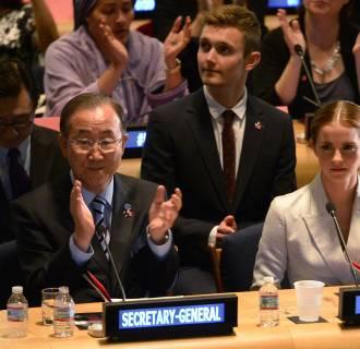 Image: U.N. Goodwill Ambassador Emma Watson and United Nations Secretary General Ban Ki-moon