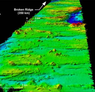 The MH370 search area encompasses the seabed on and around Broken Ridge, an extensive linear, mountainous sea floor structure that once formed the margin between two geological plates.