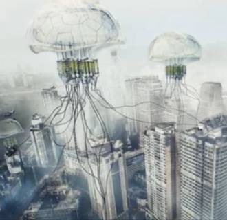 Image: An illustration of floating algae blooms that suck carbon from the air.